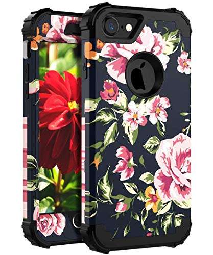 OBBCase Case for iPhone 7, Hard Plastic & Silicone Full-Body Shockproof Heavy Duty Protection Case Cover for iPhone 7, Black