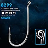 Proberos Octupus Hooks Barbed Circle Sharp Jig Fishing Hook Up Eye Black Freshwater Saltwater for Bass Perch Trout 200PCS(2/0)
