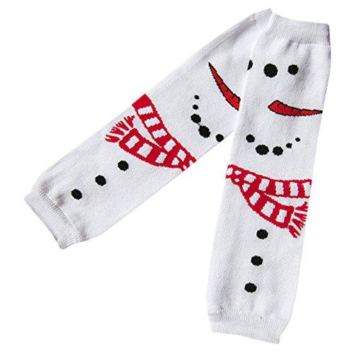 Dreamyth Christmas Infant Toddler Baby Girls Flower Snowman Kneepad Leg Warmer Socks,Children's Cartoon (White)
