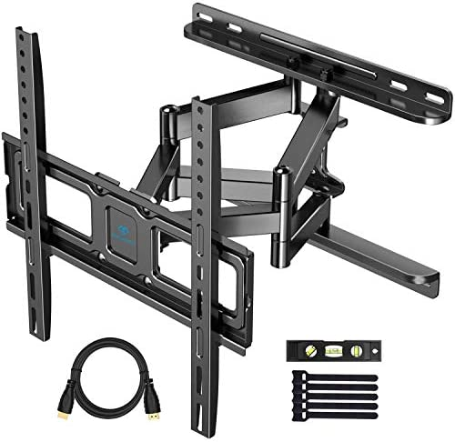 PERLESMITH TV Wall Mount for Most 32-55 Inch TVs with Swivel Extends 16.53 Inch – Dual 6 Arms Wall Mount TV Bracket VESA 400×400 Fits LED, LCD, OLED Flat Screen TVs up to 99 lbs Renewed