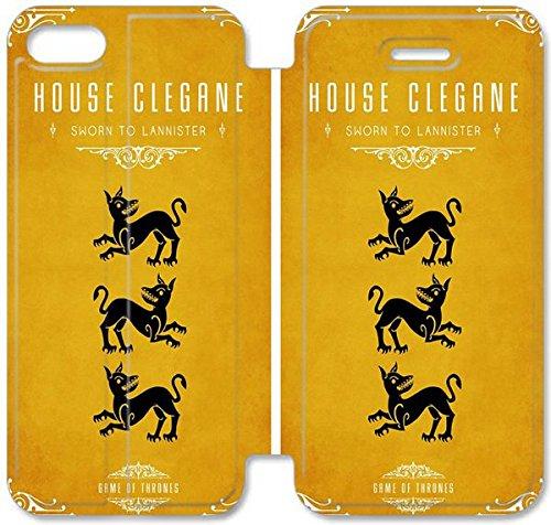 Flip étui en cuir PU Stand pour Coque iPhone 5 5S, bricolage 5 Téléphone cellulaire 5S Game Coque Case Of Thrones Maison Mode Clegane M3U5EP personnalisé Coque iPhone étuis en cuir