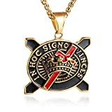 HZMAN in Hoc Signo Vinces Knights Templar Cross Necklace - Masonic College Style Stainless Steel Pendant for Men