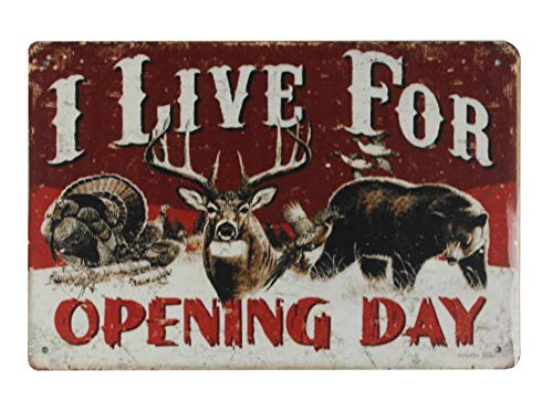 I Live for Opening Day Turkey Duck Deer Hunting tin Metal Sign Plaque Wall Decor Home Wall Decor (Art Turkey Wall Metal)