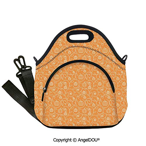 AngelDOU Harvest Fashoniable Work Lunch Bags Pattern with Pumpkin Leaves and Swirls on Orange Backdrop Halloween Inspired student cute girls mummy bag.12.6x12.6x6.3(inch) -
