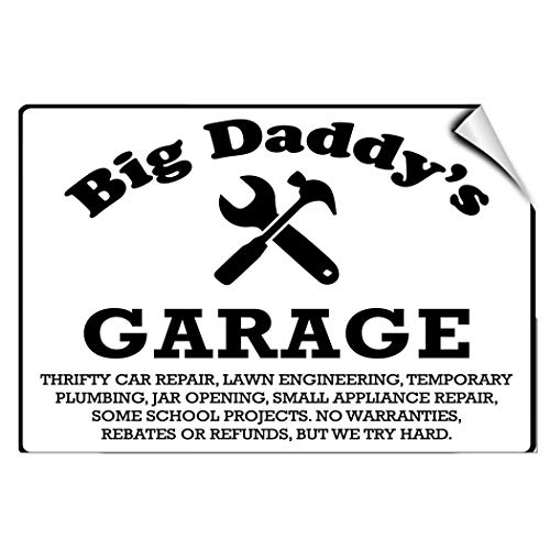(Label Decal Sticker Big Daddy's Garage Thrifty Car Repair Parking Durability Self Adhesive Decal Uv Protected & Weatherproof)