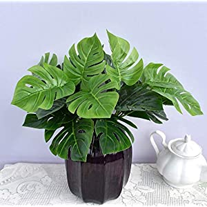 15.5 inch 2 branches Tropical Leaves Artificial Simulation Palm Monstera Fake Plant Decorative Flower arrangement Greenery Plants 9 leaves per branch for wedding Home Kitchen Party Supplies 5