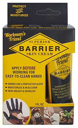 - Workman's Friend Barrier Working Hand Cream | Moisturizes & Provides Superior Hands Skin Barrier Protection From Grease, Glue, Dirt, Paint and Oils - 1 ounce