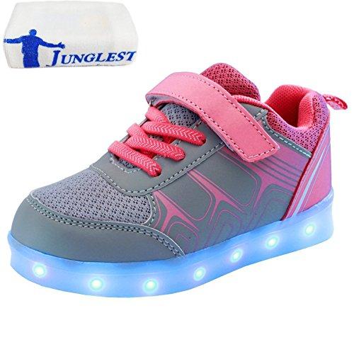 (Present:small towel)JUNGLEST® Childrens Upgraded USB Rechargeable LED Light-up Sport Fuchsia ctwZkesLr8