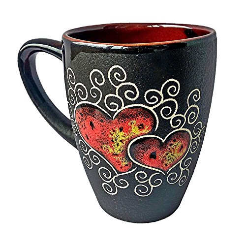 Handmade Coffee Mugs with Heart Love Pottery Mugs as a Perfect Gift for Halloween Mom Dad Women Men Girlfriend Boyfriend with Unique Design – Red heart (13.3 fl oz, 400 ()