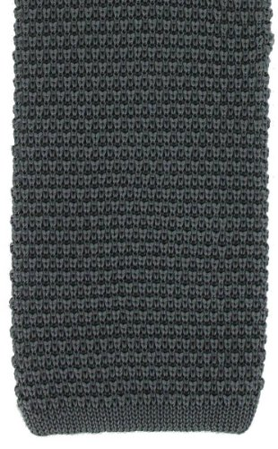 London Silk Necktie (Charcoal Silk Knitted Tie by Michelsons of London)