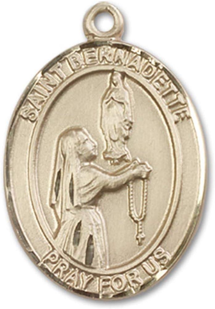 Jewels Obsession St. Bernadette Medal | 14K Gold St. Bernadette Medal - Made In USA 51H2gvsyS8LUL1000_