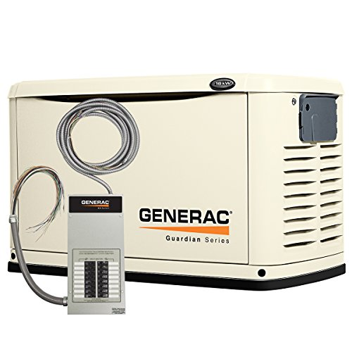 Generac 6461 Guardian Series, 16kW Air Cooled Standby Generator, Natural Gas/Liquid Propane Powered, Steel Enclosed, with 16 Circuit 100-Amp Prewired EZ Automatic Transfer Switch