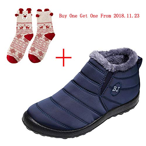 Goldweather Women Winter Warm Snow Boots Casual Slip On Plus Velvet Flat Ankle Boots Home Shoes (US:9, Blue)