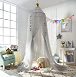 A LOVE BRAND Mosquito Net Bed Canopy Round Lace Dome Netting Hanging Curtains Princess Play Tent Bedding for Kids Indoor Playing Reading Games House Grey