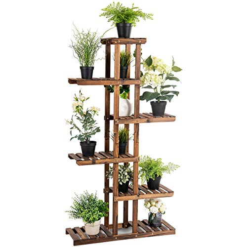 Giantex Flower Rack Wood Plant Stand 7 Wood Shelves 11 Pots Bonsai Display Shelf Indoor Outdoor Yard Garden Patio Balcony Living Room Multifunctional Storage Rack Bookshelf W/Hollow-Out Rack