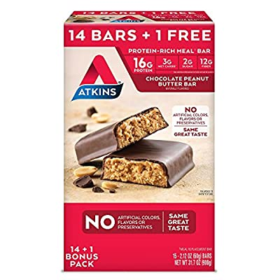 Atkins Protein-Rich Meal Bar, Chocolate Peanut Butter, 14 Count