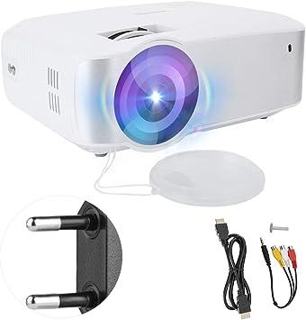Opinión sobre Proyector de Cine en casa, 720P de imágenes de reflexión difusa LCD LED Mini proyector de Cine en casa Inteligente portátil, Compatible con USB/Tarjeta de Memoria Grande/AV/HDMI(Blanco)