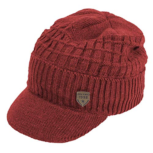 inter Visor Billed Beanie Hat with Brim Fleece Lined Knit Baseball Cap (Red) ()
