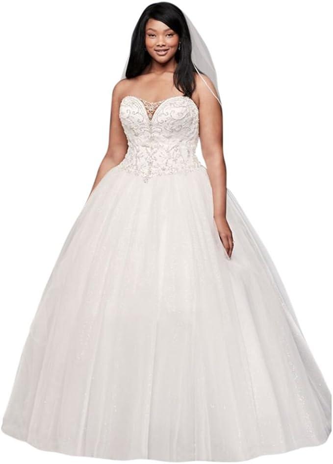 David\'s Bridal Beaded Illusion Plus Size Ball Gown Wedding ...