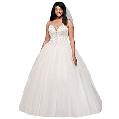 David\'s Bridal Beaded Illusion Plus Size Ball Gown Wedding Dress ...