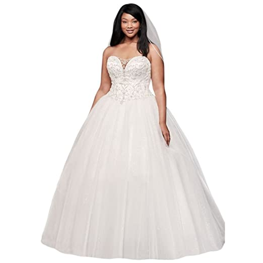 Davids Bridal Beaded Illusion Plus Size Ball Gown Wedding Dress