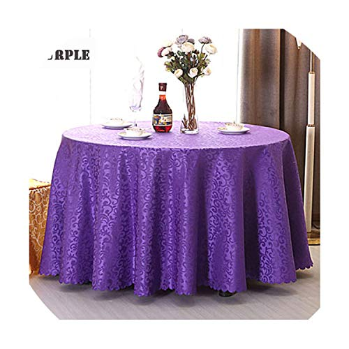 Goods-Store bedding sets Multi Size Wedding Party Jacquard Polyester Fabric Solid Round Table Cloth Hotel Rectangular Tablecloth Home Dining Table Cover,Purple,Square ()
