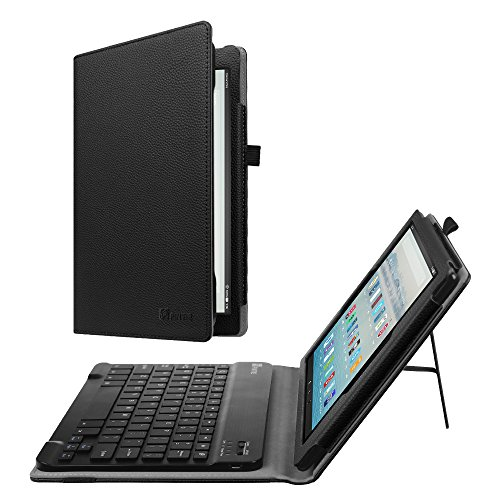 for All-New Amazon Fire HD 10 (7th Generation, 2017 Release) - Folio PU Leather Stand Cover with Removable Wireless Bluetooth Keyboard for Fire HD 10.1