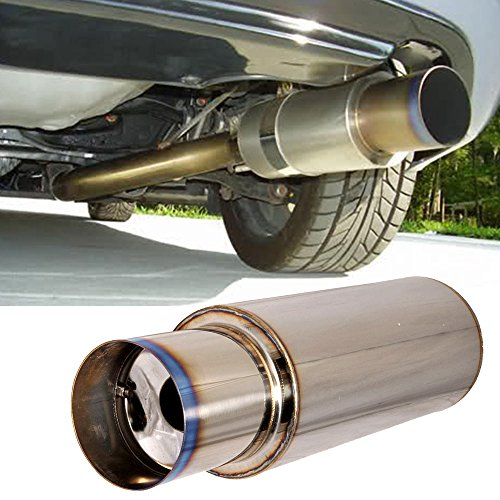 Universal Fitment N1 4 Inch Stainless Steel Muffler Titannium Flat Tip + Silencer by IKON MOTORSPORTS