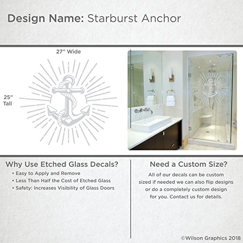 (Starburst Anchor - Etched Decal - For Shower Doors, Glass Doors and Windows - 25
