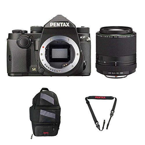 Pentax KP DSLR Camera (Black) with a Pentax HD PENTAX-DA 55-300mm f/4.5-6.3 ED PLM WR RE Lens – 21277 + Pentax 85231 Sling Bag 2 and Padded DSLR Strap For Sale