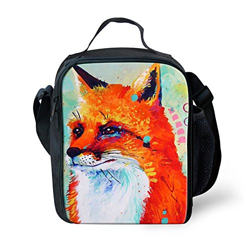 ZERODATE Lunch Boxes Bag for Kids Reusable Lunch Box Children Insulated Lunch Bag With Gouache Fox Pattern
