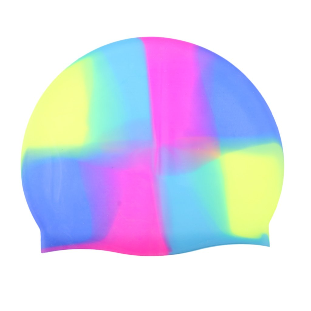 Homyl Unisex Adult Men Women Kids Waterproof Elastic Silicone Sports Swimming Pool Cap Swim Shower Bathing Hat - Choose Colors - A5