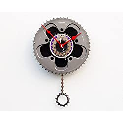 Recycled Bike Gear Clock, Wall clock, upcycled bike gift, modern wall clock, pendulum clock, Christmas gift, 45 record clock, cycling enthusiast gift, Steampunk clock, bike parts clock