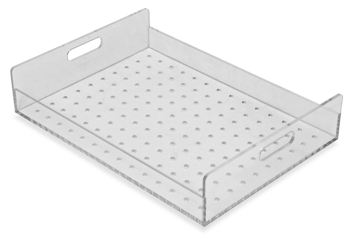 TrippNT 51413 Perforated Tray for Large Portable Personal Desiccator, 15'' x 11'' x 3'', Clear by TrippNT