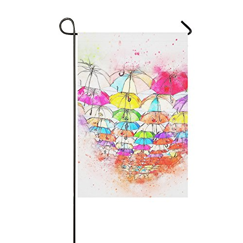(Home Decorative Outdoor Double Sided Umbrella Art Abstract Watercolor Vintage T-shirt Garden Flag,house Yard Flag,garden Yard Decorations,seasonal Welcome Outdoor Flag 12 X 18 Inch Spring Summer Gift)