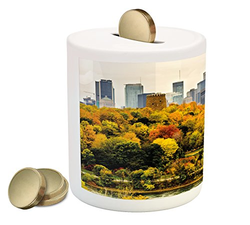 Fall Piggy Bank By Ambesonne  Montreal Downtown Skyscrapers Autumn Various Trees Colorful Forest Urban Life Nature  Printed Ceramic Coin Bank Money Box For Cash Saving  Multicolor