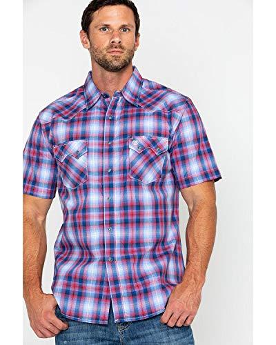 (Wrangler Men's Retro Short Sleeve Snap Plaid Shirt Red/Navy XX-Large)