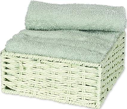 Autrefois Juego de 6 toallas para invitados con cesta, 30x 30cm