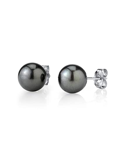 1dc28ea78bc2c THE PEARL SOURCE 14K Gold Round Tahitian South Sea Cultured Pearl Stud  Earrings for Women