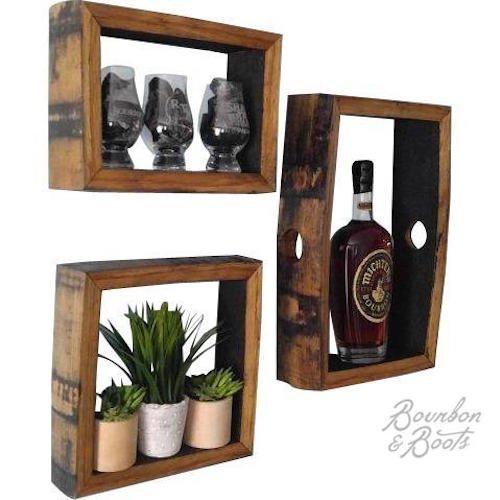 Reclaimed Bourbon Barrel Wall Mount Shadow Boxes