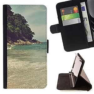 Momo Phone Case / Flip Funda de Cuero Case Cover - Island Beach Sea Wave;;;;;;;; - LG G4