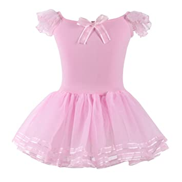 4842e3f77042 Qlan Girls  Short Sleeves Back Detailing Ballet Tutu Leotard Skirt ...