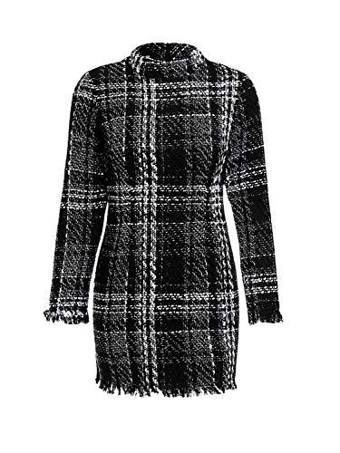 Missy Chilli Women's Long Sleeve Plaid Tweed Tunic Dress Vintage Christmas Tassel Mini Dress Gray White 4/6 ()