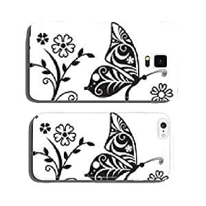 Inwrought butterfly silhouette and flower branch cell phone cover case Samsung S5