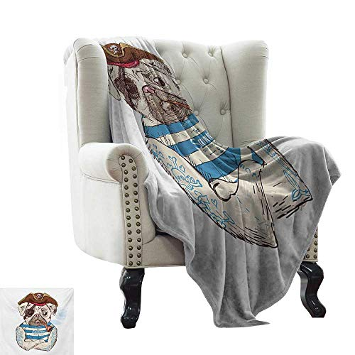Couch Blanket Pug,Pirate Pug Conqueror of The Seas Pipe Skulls and Bones Hat Striped Sleeveless T-Shirt,Brown Blue Colorful   Home, Couch, Outdoor, Travel Use 50
