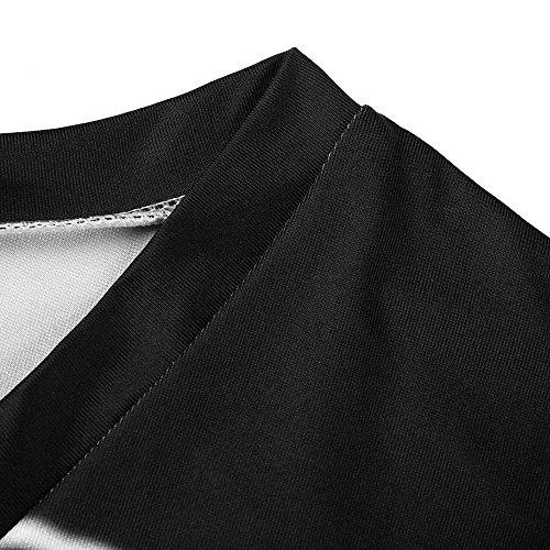 JESPER Women's Casual Chiffon Striped Short Sleeved Pocket Split Irregular Hem Long Beach Dress Black by JESPER (Image #5)