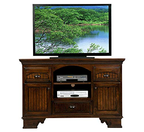 - Wood & Style Furniture American Premiere Entertainment Console with 2 Doors, 58