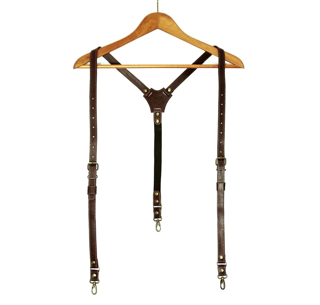 Leather suspenders brown for men / convertible / y-back / 3 in 1 /giftbox