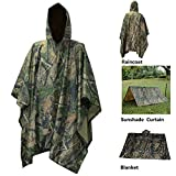 Waterproof Raincoat Rain Poncho Lightweight RipStop Hooded Picnic MatRain Fly backpack cover (Maple Camouflage)