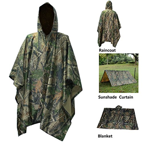 Mens Raincoat Camouflage (Waterproof Raincoat Rain Poncho Lightweight RipStop Hooded Picnic MatRain Fly backpack cover (Maple Camouflage))
